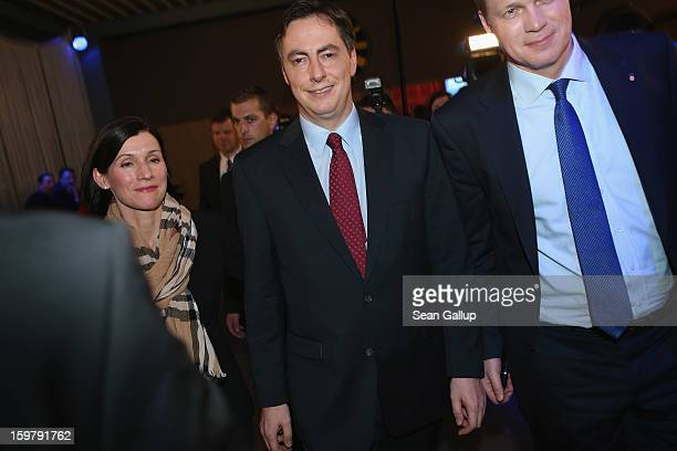 David McAllister incumbent gubernatorial candidate of the German Christian Democrats and his wife Dunja depart from a CDU election night party...