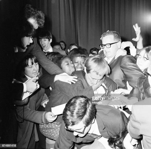 David McCallum actor who plays the role of secret agent Illya Kuryakin in NBC show The Man from 'UNCLE' mobbed by screaming teenagers while attending...