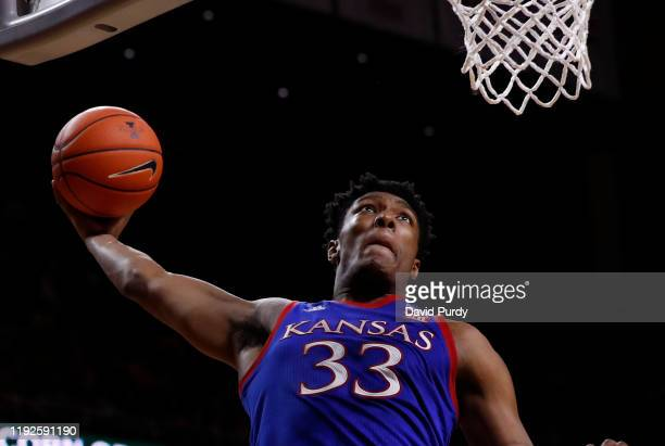 David McCormack of the Kansas Jayhawks dunks the ball in the second half of the game against the Iowa State Cyclones at Hilton Coliseum on January 8,...