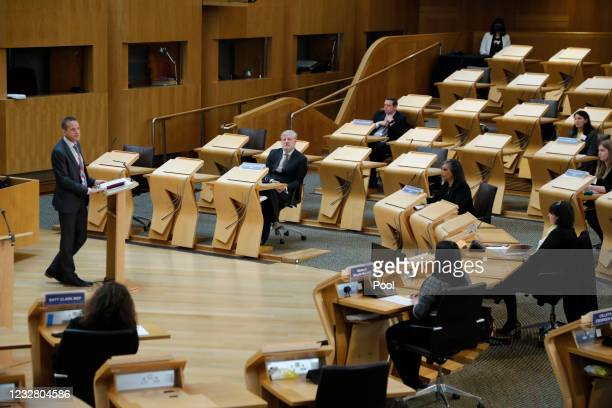 David McGill, Clerk/Chief Executive of the Scottish Parliament welcomes newly elected MSP's to the chamber at Holyrood on May 10, 2021 in Edinburgh,...