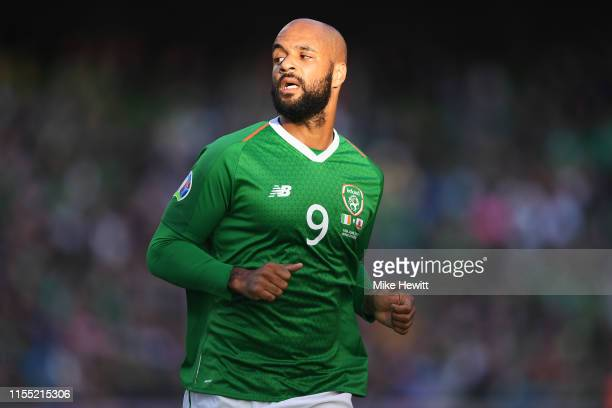 David McGoldrick of Ireland looks on during the UEFA Euro 2020 Qualifying Group D match between Ireland and Gibraltar at Aviva Stadium on June 10,...
