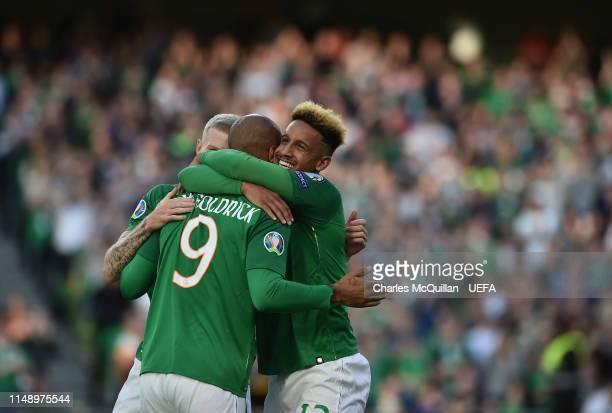 David McGoldrick of Republic of Ireland celebrates after scoring during the UEFA Group D Euro 2020 qualifying game between Republic of Ireland and...