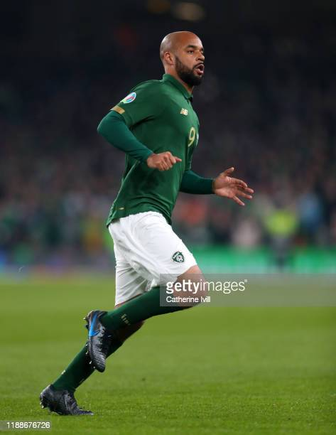 David McGoldrick of Republic of Ireland during the UEFA Euro 2020 qualifier between Republic of Ireland and Denmark so at Dublin Arena on November...