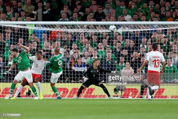 David McGoldrick of Republic of Ireland scores during the UEFA Euro 2020 qualifier between Republic of Ireland and Switzerland at Aviva Stadium on...