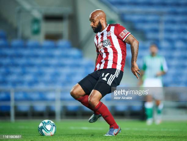 David McGoldrick of Sheffield United drives the ball to score a goal during a preseason friendly match between Real Betis Balompie and Sheffield...