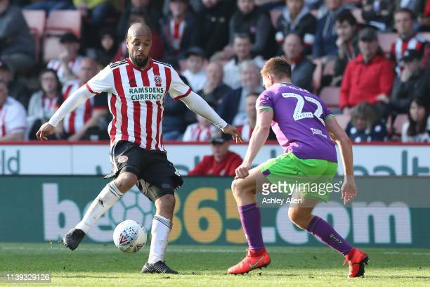 David McGoldrick of Sheffield United keeps the ball from Tomáš Kalas of Bristol City during the Sky Bet Championship match between Sheffield United...