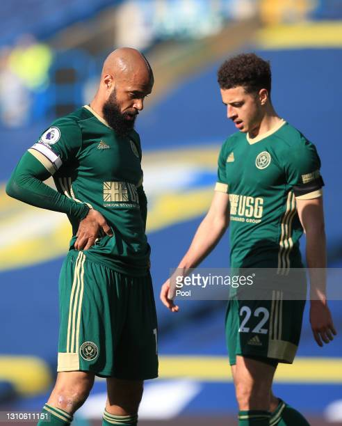 David McGoldrick of Sheffield United reacts during the Premier League match between Leeds United and Sheffield United at Elland Road on April 03,...