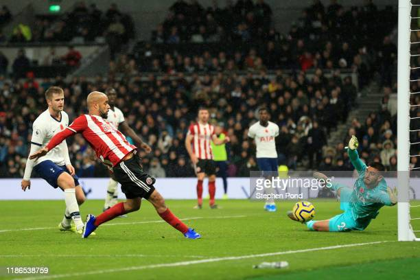 David McGoldrick of Sheffield United scores a goal which is then disallowed following a VAR check during the Premier League match between Tottenham...