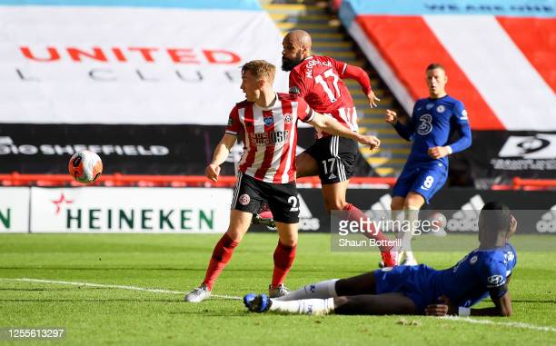 David McGoldrick of Sheffield United scores his team's third goal during the Premier League match between Sheffield United and Chelsea FC at Bramall...