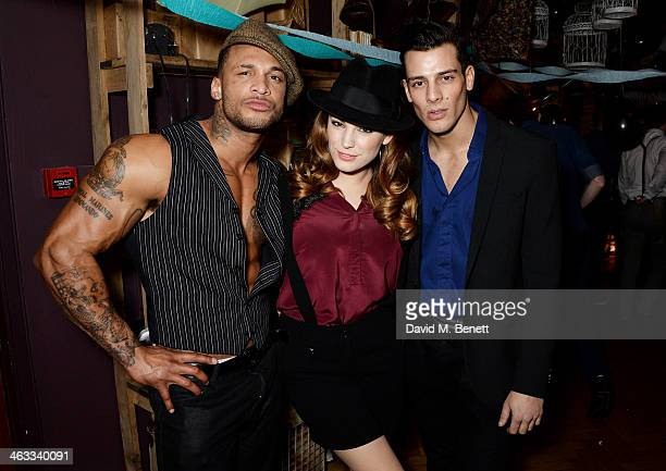 David McIntosh Kelly Brook and Waz Ashayer attend Ellen Von Unwerth's 60th birthday party supported by Ciroc at Steam Rye on January 17 2014 in...