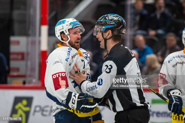 David McIntyre of EV Zug reacts during the Swiss National League game between Lausanne HC and EV Zug at Vaudoise Arena on October 22 2019 in Lausanne...