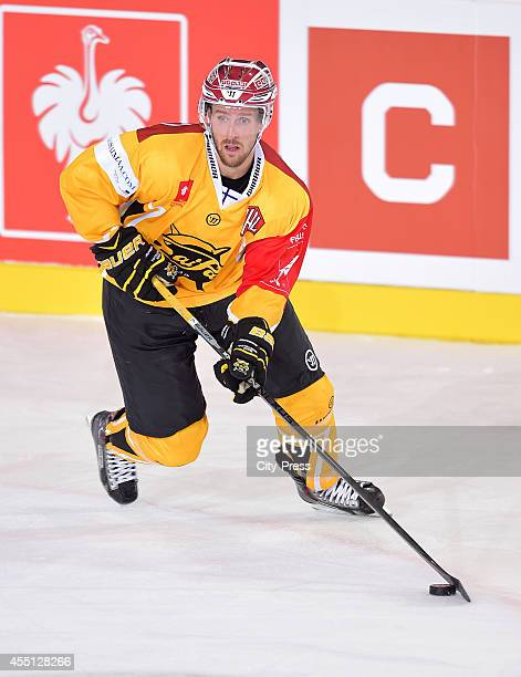 David Mcintyre of SaiPa Lappeenranta handles the puck during the Champions Hockey League game between ERC Ingolstadt and SaiPa Lappeenranta on august...