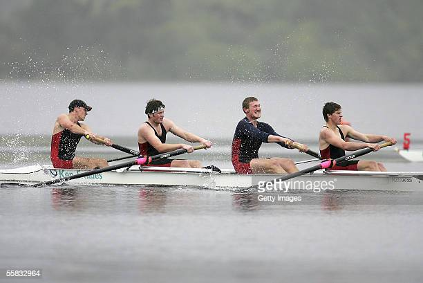David McKellar, Matt Trott, Paul Arthurs and Ian Smallman of Canterbury in action during the Mens under 21 Coxless Four race during the...