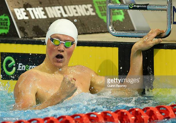 David McKeon of Australia celebrates winning the Men's 400 Metre Freestyle during day one of the Australian Swimming Championships at the SA Aquatic...