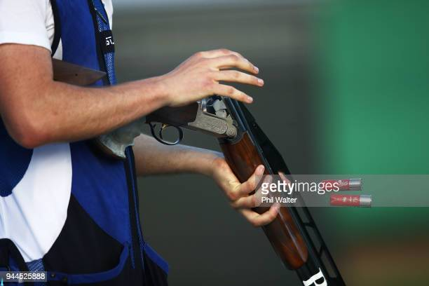 David McMath of Scotland competes during the Men's Double Trap Finals on day seven of the Gold Coast 2018 Commonwealth Games at Belmont Shooting...