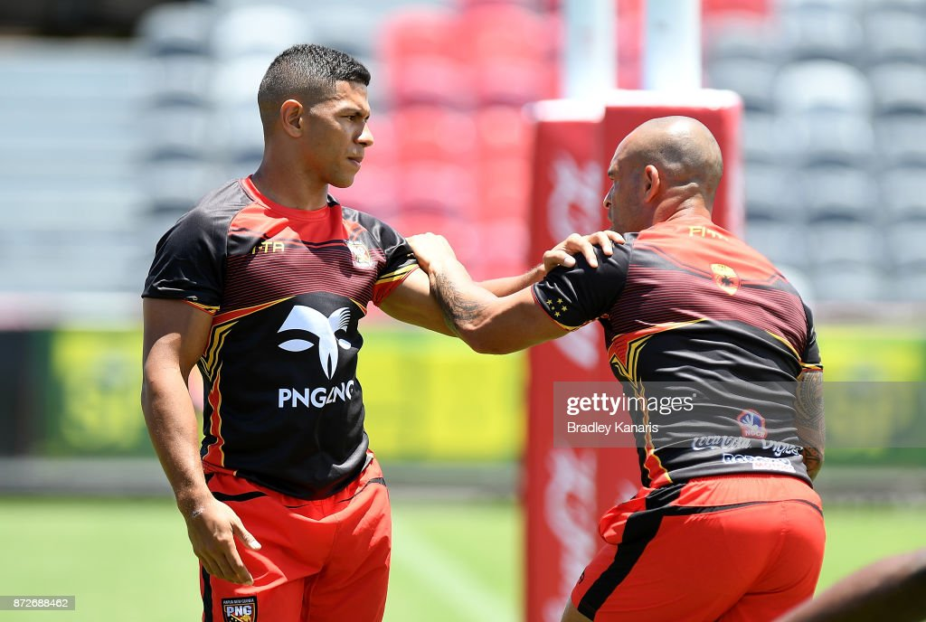 David Mead and Paul Aiton warm-up during a PNG Kumuls Rugby League World Cup captain's run on November 11, 2017 in Port Moresby, Papua New Guinea.