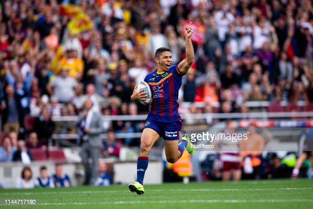 03 David Mead of Dragons Catalans celebrating his point during the Super League of Rugby A XIII match between Dragons Catalans and Wigan Warriors in...