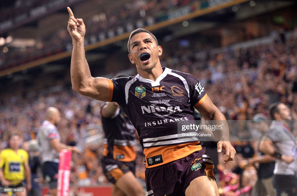 David Mead of the Broncos celebrates scoring a try during the round six NRL match between the Brisbane Broncos and the Sydney Roosters at Suncorp Stadium on April 6, 2017 in Brisbane, Australia.