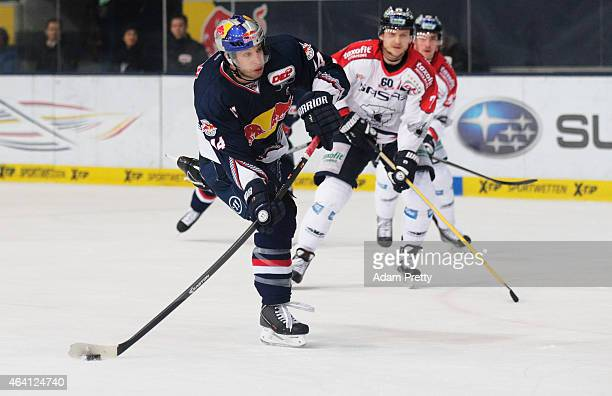 David Meckler of EHC Muenchen scores a goal during the DEL Ice Hockey match between EHC Muenchen and Eisbaeren Berlin on February 22 2015 in Munich...