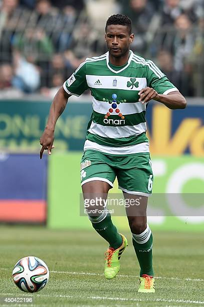 David Mendes of Panathinaikos in action during the Greek Cup semifinal match between Panathinaikos FC and OFI Crete FC at the Apostolos Nikolaidis...