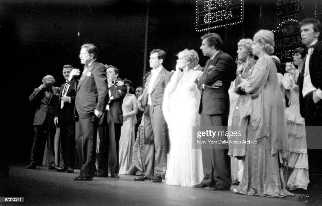 David Merrick announces death of legendary choreographer and director Gower Champion at curtain call on opening night of Broadway show '42nd Street'. Tammy Grimes (with hand to mouth) and Jerry Orbach (to Grimes' left) and others are stunned by the news.