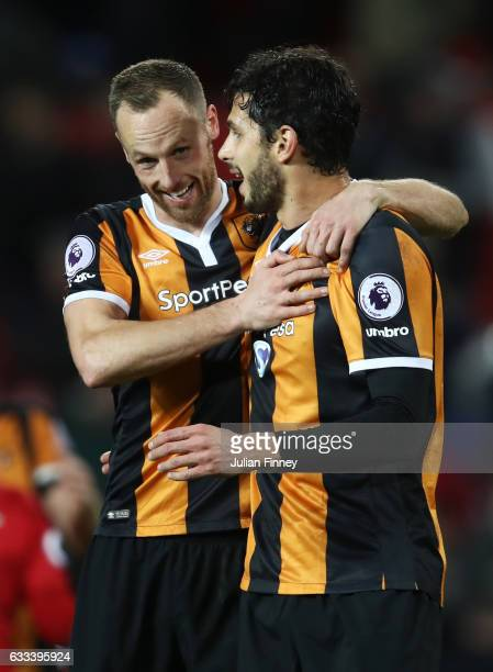 David Meyler and Andrea Ranocchia of Hull City celebrate after the Premier League match between Manchester United and Hull City at Old Trafford on...