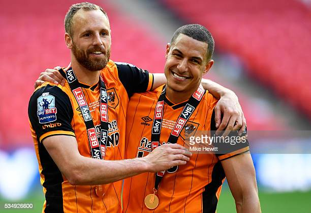 David Meyler and Jake Livermore of Hull City celebrate victory in the Sky Bet Championship Play Off Final match between Hull City and Sheffield...