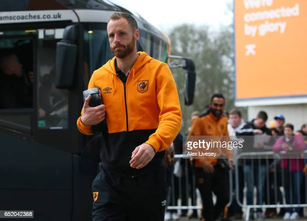 David Meyler of Hull City arrives at the stadium prior to the Premier League match between Hull City and Swansea City at KCOM Stadium on March 11...
