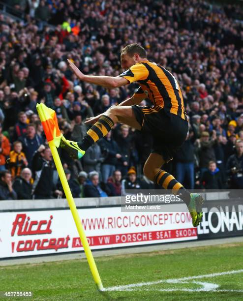 David Meyler of Hull City celebrates scoring his team's second goal during the Barclays Premier League match between Hull City and Liverpool at KC...