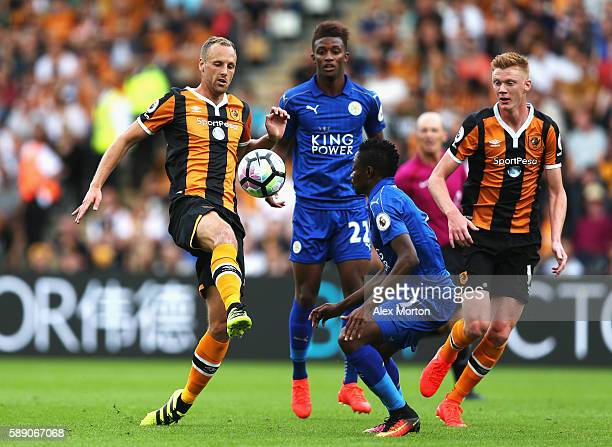 David Meyler of Hull City controls the ball infront of Ahmed Musa of Leicester City during the Premier League match between Hull City and Leicester...