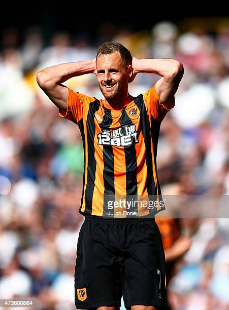David Meyler of Hull City reacts during the Barclays Premier League match between Tottenham Hotspur and Hull City at White Hart Lane on May 16 2015...