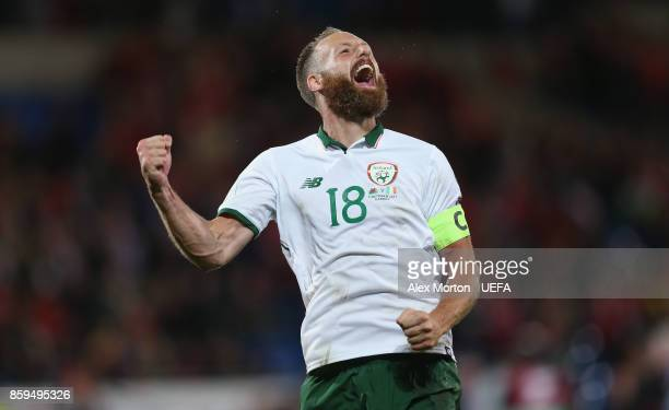David Meyler of Republic of Ireland celebrates at the final whistle during the FIFA 2018 World Cup Qualifier between Wales and Republic of Ireland at...