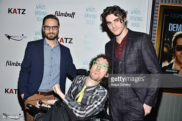 David Michael Conley Michael Carnick and RJ Mitte attend the premiere of FilmBuff's Who's Driving Doug at Los Feliz 3 Cinemas on February 26 2016 in...