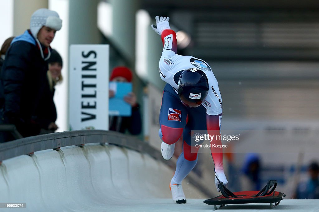 David Michael Swift competes in his first run of the men's skeleton competition during the BMW IBSF Bob & Skeleton Worldcup at Veltins Eis-Arena on December 4, 2015 in Winterberg, Germany.