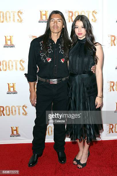 David Midthunder and Amber Midthunder attend as HISTORY presents night one of epic event series ROOTS as HISTORY presents night one of the epic event...
