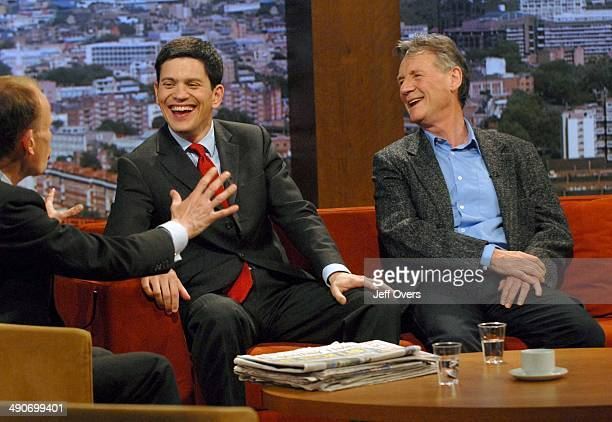 David Miliband and Michael Palin being asked questions by host Andrew Marr during the BBC One current affairs programme the Andrew Marr Show April...