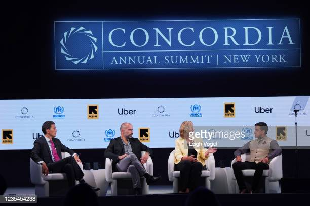 David Miliband, President & CEO, International Rescue Committee, Dara Khosrowshahi, Chief Executive Officer, Uber, Kelly Clements, United Nations...