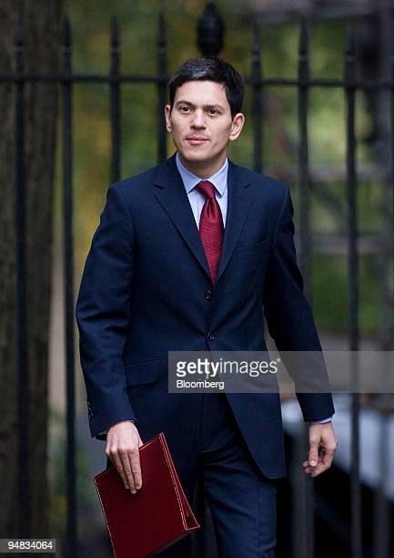 David Miliband UK foreign secretary arrives for the weekly cabinet meeting at number 10 Downing Street in London UK on Tuesday Oct 14 2008 UK Prime...