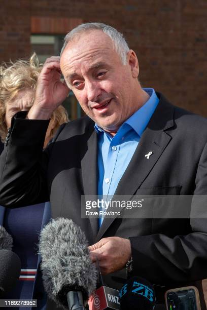 David Millane with his wife Gillian the parents of Grace Millane shows emotion as they speak to media outside Auckland High Court on November 22 2019...