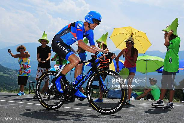 David Millar of Great Britain and Garmin Sharp rides during stage seventeen of the 2013 Tour de France, a 32KM Individual Time Trial from Embrun to...