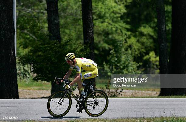 David Millar of Great Britain and riding for Saunier Duval Prodir spends the waning moments of a break awayalone before being caught by the peloton...
