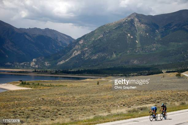 David Millar of Great Britian and Team GarminSharp rides with Kanstantsin Siutsou of Belarus and Sky Procycling attempt a breakaway during stage two...