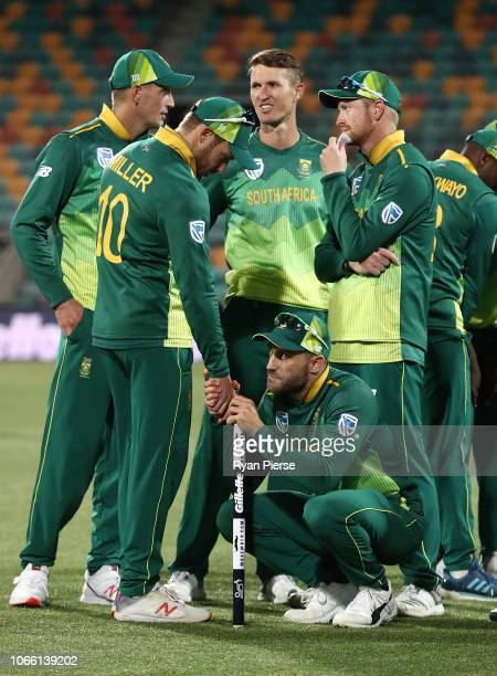 David Miller and Faf du Plessis of South Africa celebrate victory after game three of the One Day International series between Australia and South...