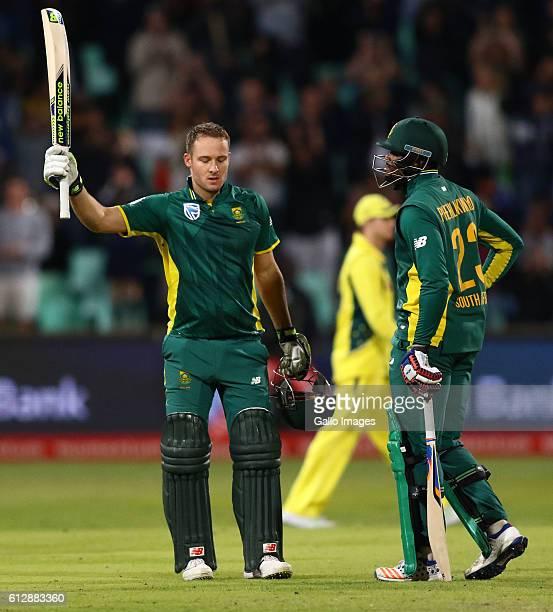 David Miller celebrates his 100 runs during the 3rd Momentum ODI Series match between South Africa and Australia at Sahara Stadium Kingsmead on...