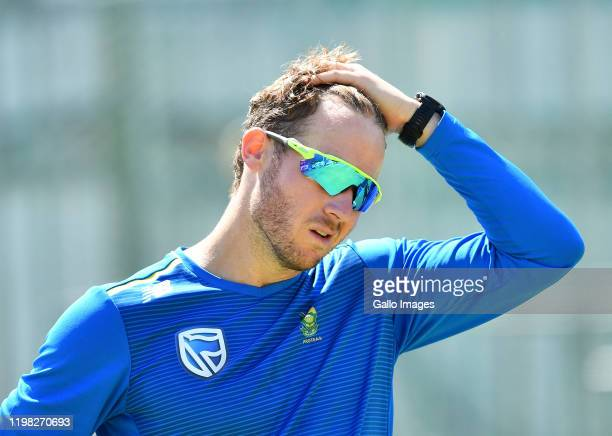 David Miller during the South African national cricket team training session and press conference at Newlands Cricket Ground on February 03, 2020 in...