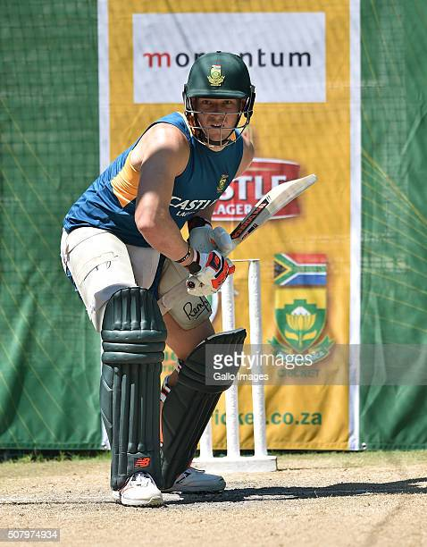 David Miller during the South African national cricket team training session and press conference at Mangaung Oval on February 02 2016 in...