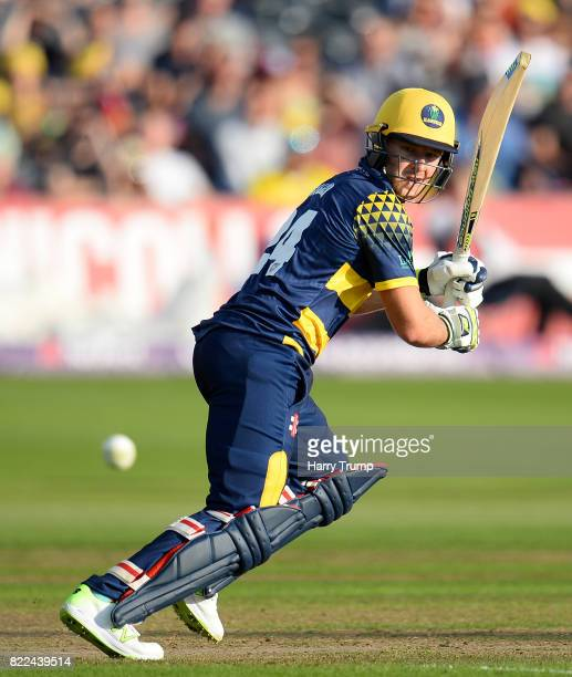 David Miller of Glamorgan bats during the NatWest T20 Blast match between Gloucestershire and Glamorgan at the Brightside Ground on July 25 2017 in...