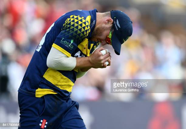 David Miller of Glamorgan catches the ball to dismiss Dominic Sibley of Birmingham during the NatWest T20 Blast SemiFinal match between Birmingham...
