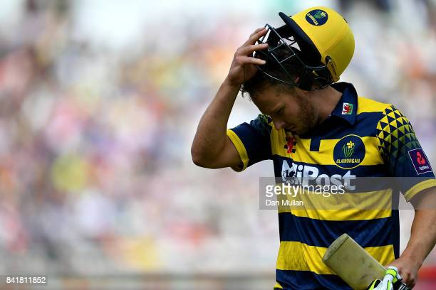 David Miller of Glamorgan walks off after being dismissed by Aaron Thomason of Birmingham during the NatWest T20 Blast SemiFinal match between...