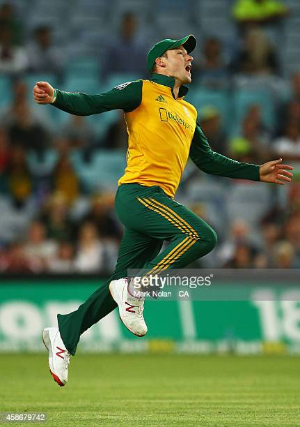 David Miller of South Afrcia celebtrates taking a catch during game three of the Men's International Twenty20 series between Australia and South...